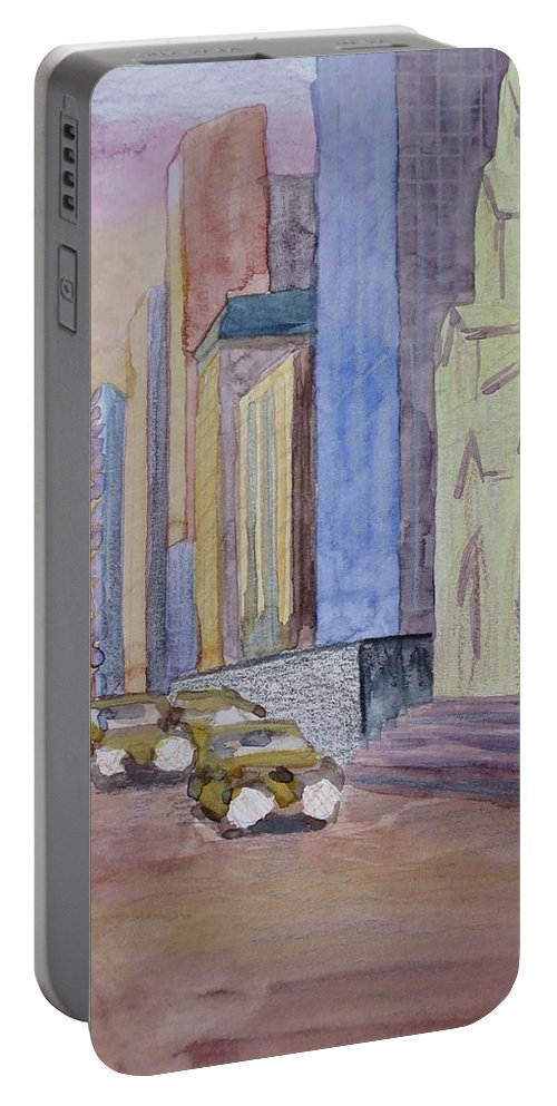 5th Ave Portable Battery Charger featuring the painting Fifth Ave At Dawn by Bethany Lee