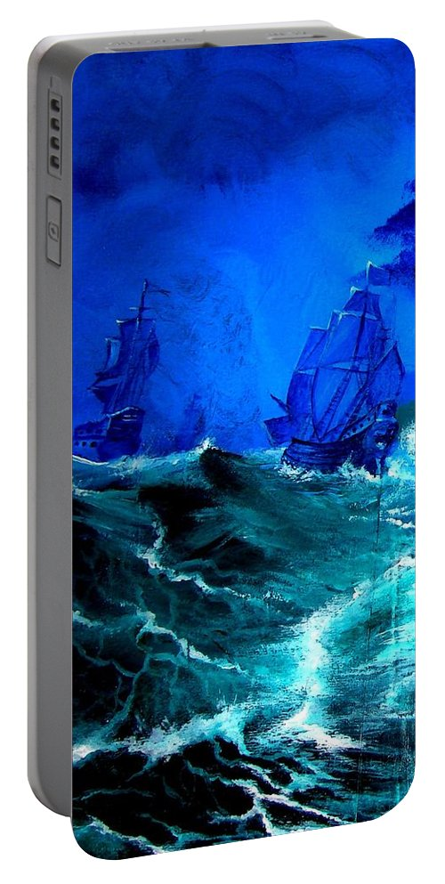 Seascape Portable Battery Charger featuring the painting Fight For Life by Glory Fraulein Wolfe