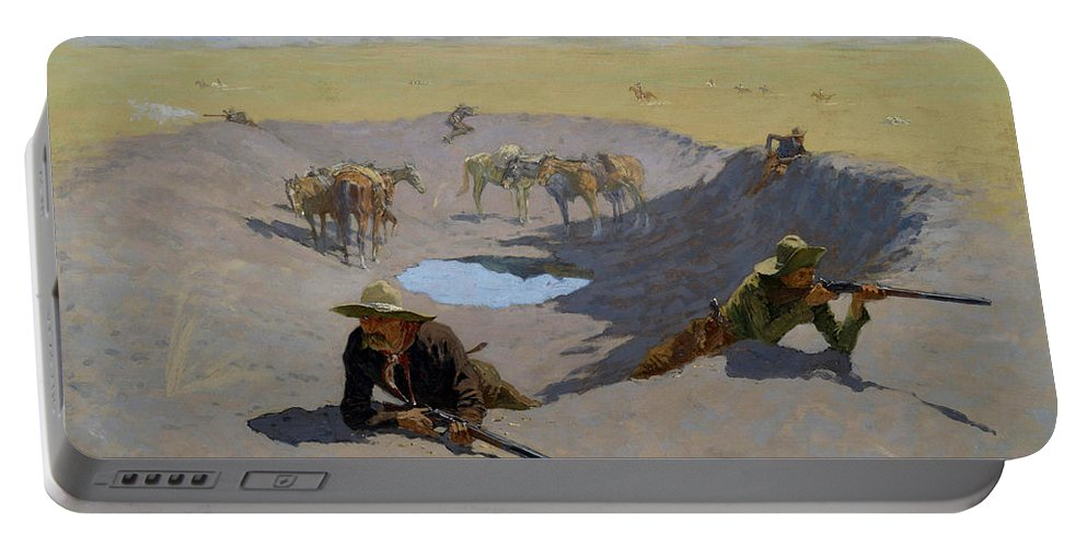 Gun Fight Portable Battery Charger featuring the painting Fight For The Waterhole by Frederic Sackrider Remington