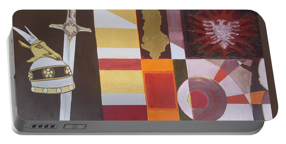 Oil Portable Battery Charger featuring the painting Figurativ Albanian Simbols by Alban Dizdari