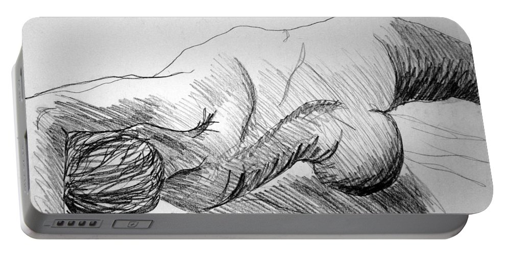 Figure Portable Battery Charger featuring the drawing Figure Drawing 2 by Nancy Mueller