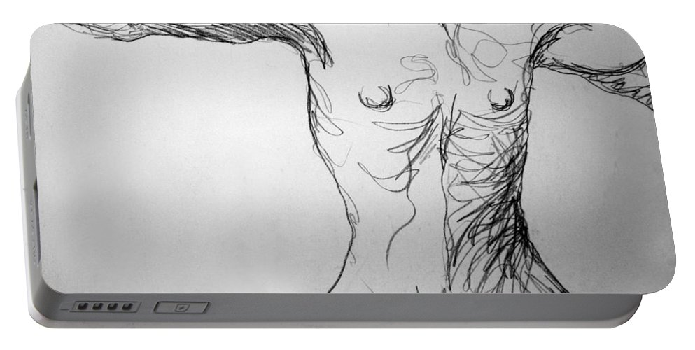 Figure Portable Battery Charger featuring the drawing Figure Drawing 5 by Nancy Mueller