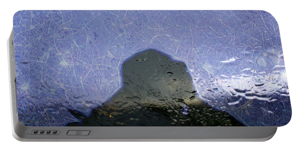 Abstract Portable Battery Charger featuring the digital art Figure In The Windshield by Aliceann Carlton