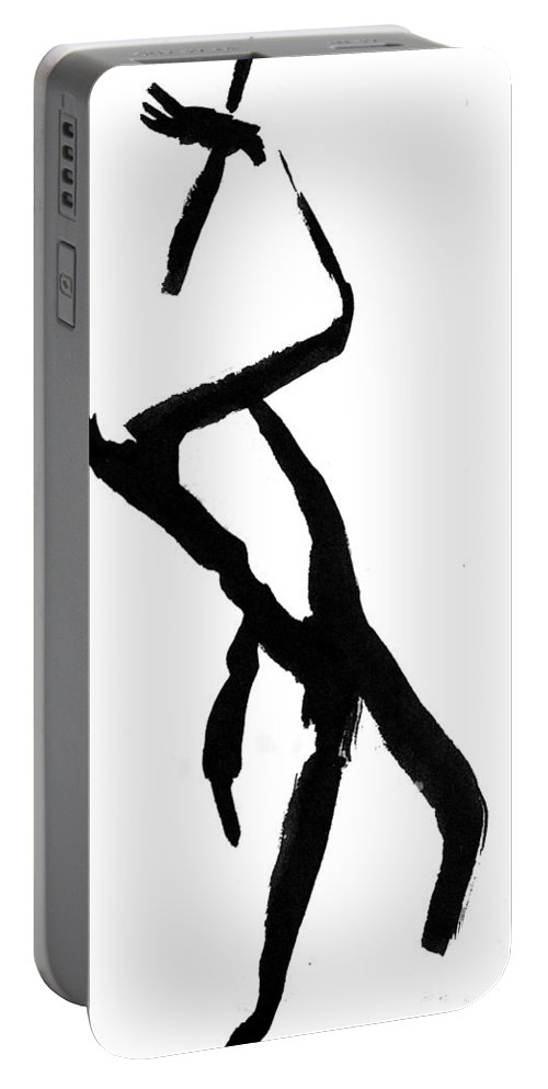 Silhouette Portable Battery Charger featuring the drawing Figure Silhouette by Nancy Mueller