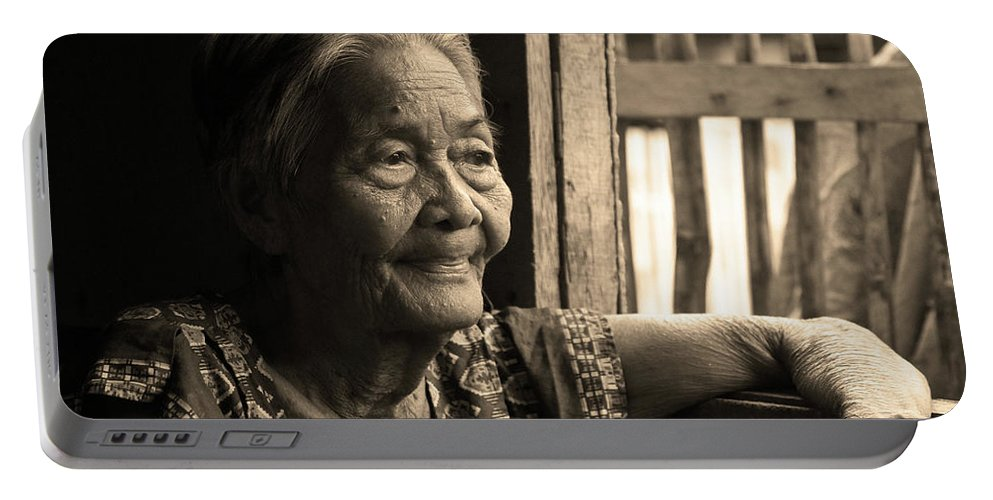Philippines Portable Battery Charger featuring the photograph Filipino Lola - Image 14 Sepia by James BO Insogna