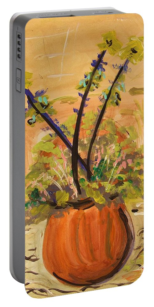 Floral Portable Battery Charger featuring the painting Filled Terra Cotta Vase by Mary Carol Williams