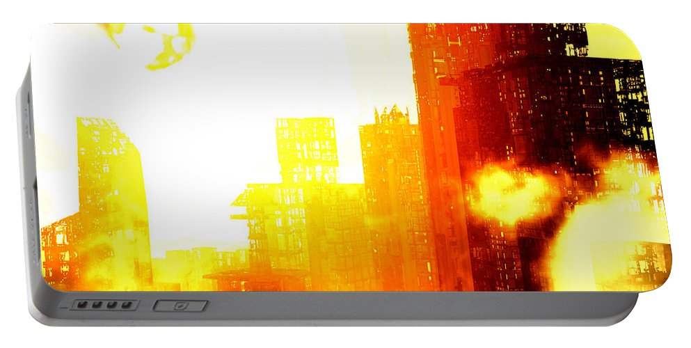 Meteor Showe Portable Battery Charger featuring the digital art Final Strike by Richard Rizzo