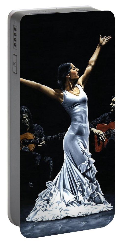 Flamenco Portable Battery Charger featuring the painting Finale Del Funcionamiento Del Flamenco by Richard Young