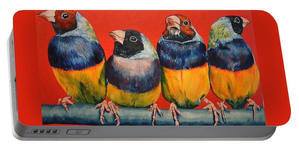 Birds Portable Battery Charger featuring the painting Finches by Debbie Sampson