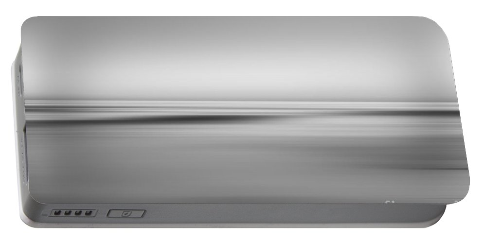 Black And White Portable Battery Charger featuring the photograph Finding Bliss Abstract Seascape Bw by Michael Ver Sprill