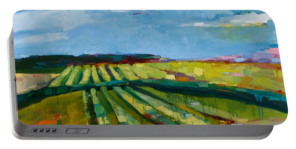 Landscape Portable Battery Charger featuring the painting Fine Fields by Michele Norris