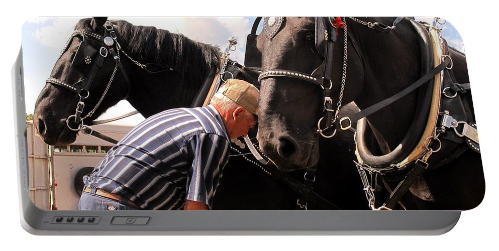 Horses Portable Battery Charger featuring the photograph Fine Tuning by Ian MacDonald