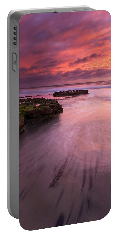 Sunset Portable Battery Charger featuring the photograph Fingers Of The Tide by Mike Dawson