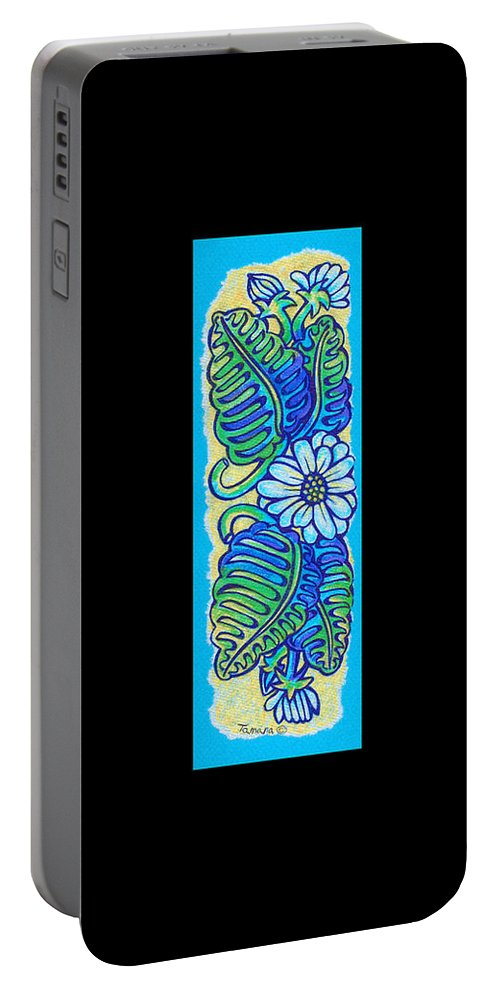 Drawing Portable Battery Charger featuring the painting Finished15 Ink Drawing Handtowel Series W Black Background by Tamara Kulish