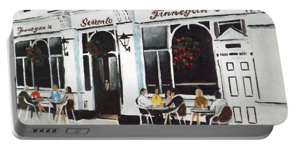 Dalkey Portable Battery Charger featuring the painting Finnegan's Dalkey by Tony Gunning