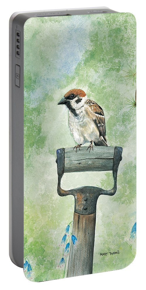 Bird Portable Battery Charger featuring the painting Finnish Dotted Cheek Sparrow by Mary Tuomi