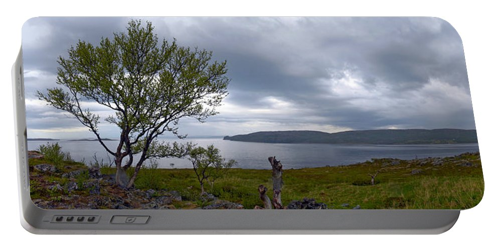 Fjord Portable Battery Charger featuring the photograph Finnmark Panorama by Jouko Lehto