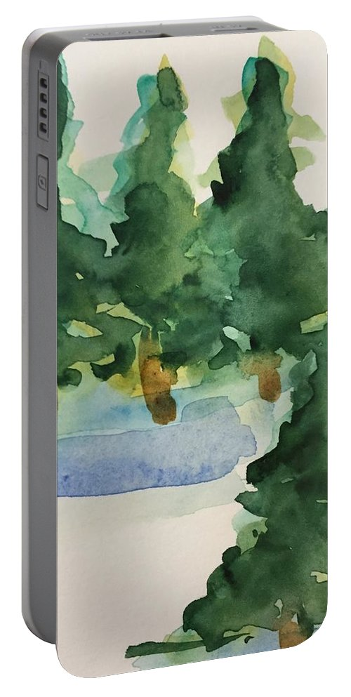 Nature Portable Battery Charger featuring the painting Fir Trees by Britta Zehm