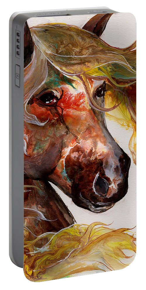 Horse Portable Battery Charger featuring the painting Fire Agate by Sherry Shipley