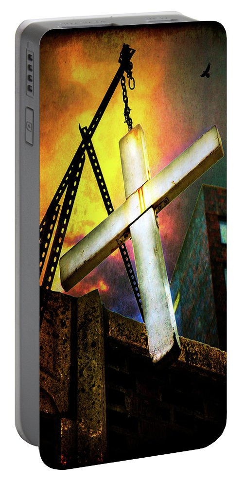 Cross Portable Battery Charger featuring the photograph Fire And Brimstone In Da Bronx by Chris Lord