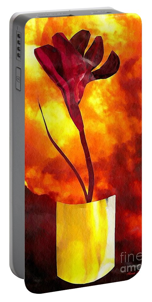 Floral Portable Battery Charger featuring the mixed media Fire And Flower by Sarah Loft