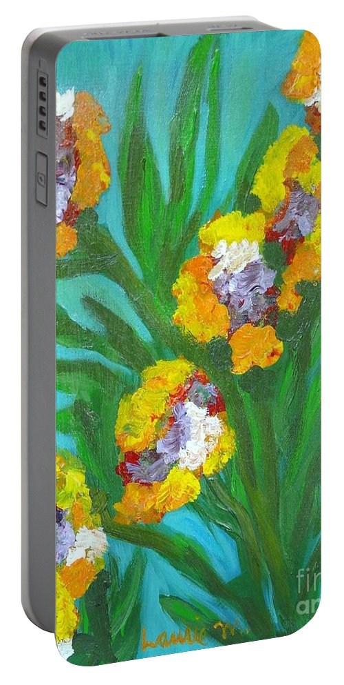 Flower Portable Battery Charger featuring the painting Fire Blossoms by Laurie Morgan