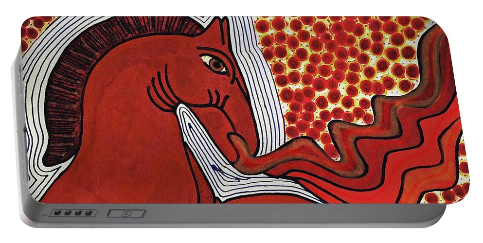 Horse Portable Battery Charger featuring the drawing Fire Breathing Horse by Sarah Loft