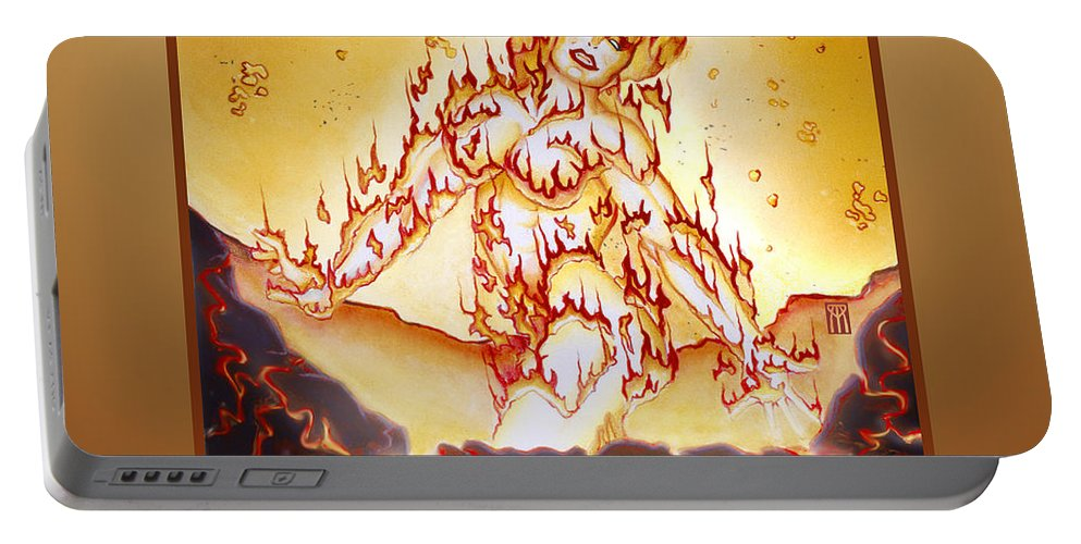 Fire Elemental Portable Battery Charger featuring the digital art Fire Elemental by Melissa A Benson