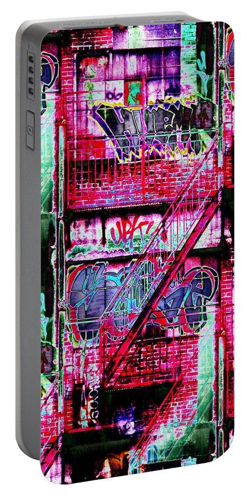 Fire Escape Portable Battery Charger featuring the digital art Fire Escape 3 by Tim Allen