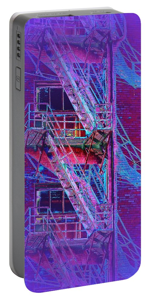 Fire Escape Portable Battery Charger featuring the photograph Fire Escape 4 by Tim Allen