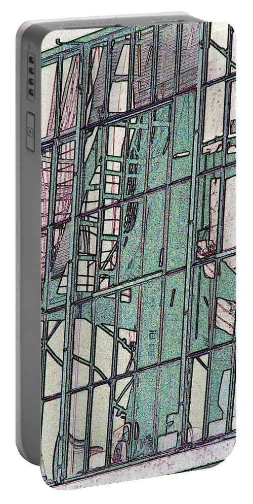 Fire Escape Portable Battery Charger featuring the photograph Fire Escape Reflection by Tim Allen