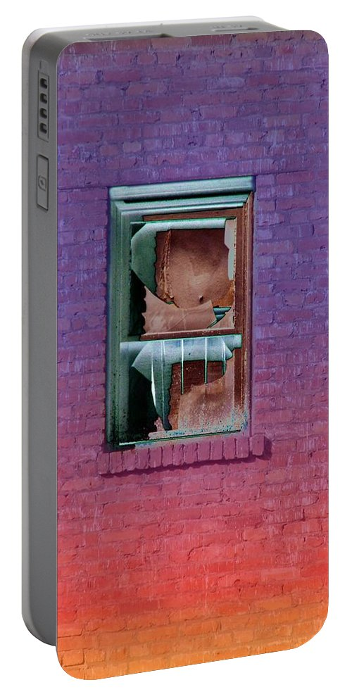 Architecture Portable Battery Charger featuring the photograph Fire Escape Window 2 by Tim Allen
