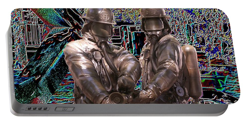 Fire Fighter Portable Battery Charger featuring the photograph Fire Fighters Memorial Seattle by Tim Allen