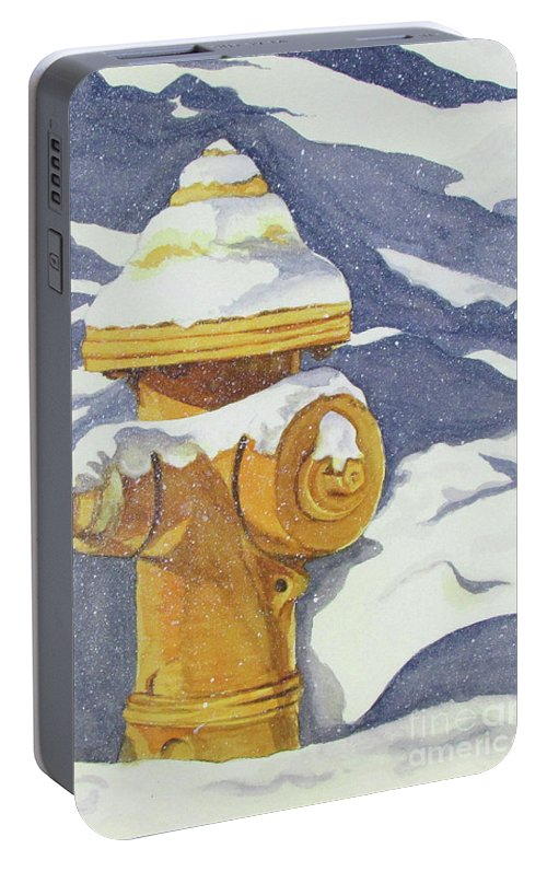 Yellow Portable Battery Charger featuring the painting Fire Hydrant by Sandra McClelland