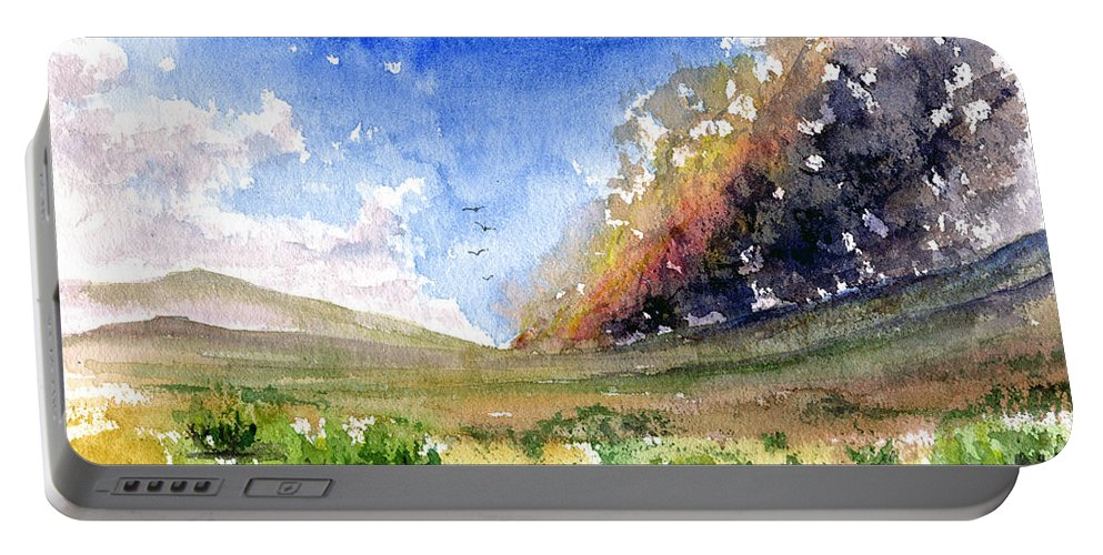Fire Portable Battery Charger featuring the painting Fire In The Desert 1 by John D Benson
