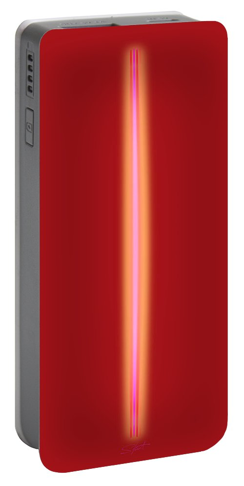 Slit Portable Battery Charger featuring the painting Fire In The Hold by Charles Stuart