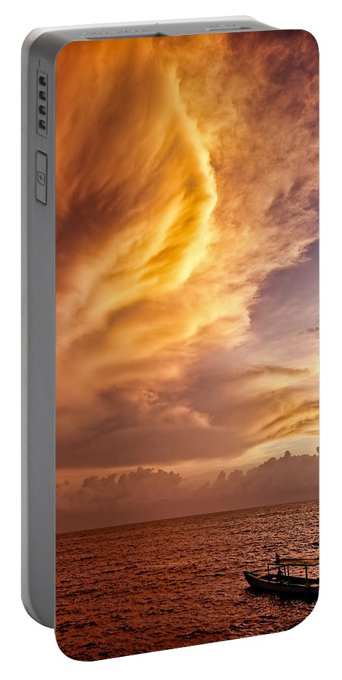 Jamaica Portable Battery Charger featuring the photograph Fire In The Sky by Dave Bowman