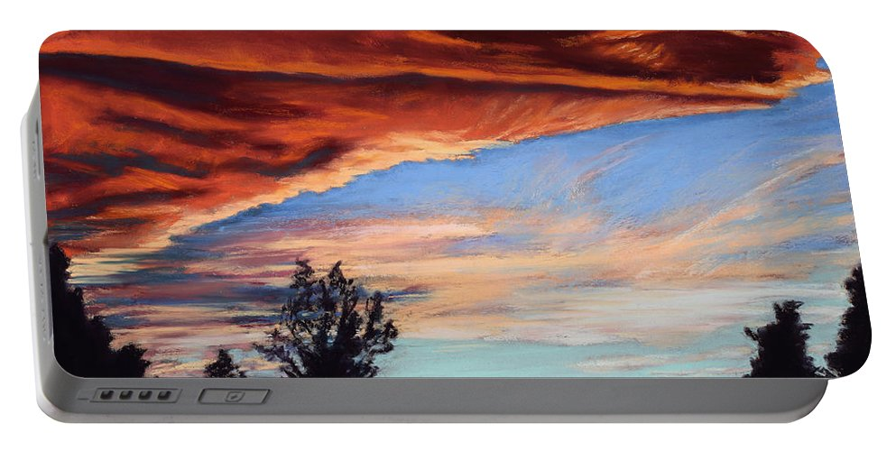 Sunset Portable Battery Charger featuring the painting Fire In The Sky by Mary Benke
