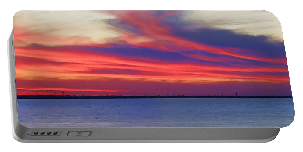 Lake Portable Battery Charger featuring the photograph Fire In The Sky by Ricky Barnard