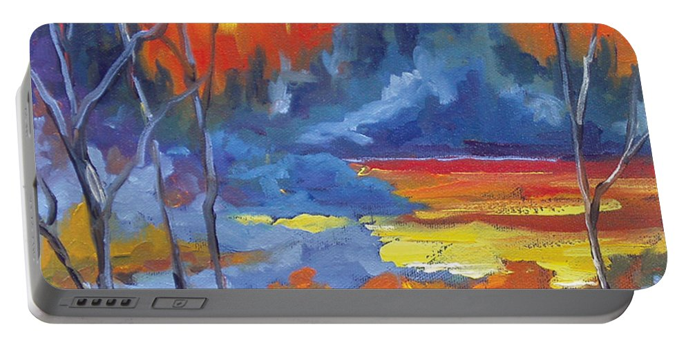 Art Portable Battery Charger featuring the painting Fire Lake by Richard T Pranke