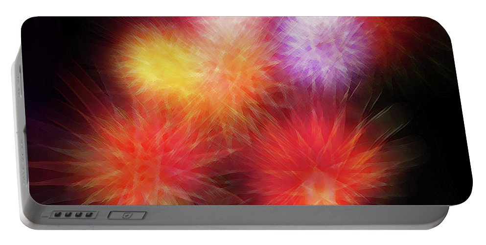 Fireworks Portable Battery Charger featuring the digital art Fire Mums Floral - Fireworks Collage by Steve Ohlsen