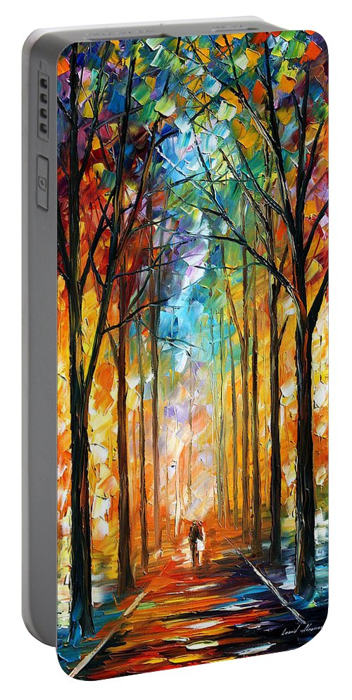 Afremov Portable Battery Charger featuring the painting Fire Night by Leonid Afremov