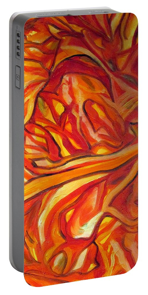 Abstract Portable Battery Charger featuring the painting Fire, No Ice by Steven Miller