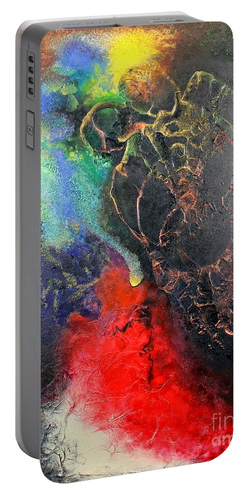 Valentine Portable Battery Charger featuring the painting Fire Of Passion by Farzali Babekhan