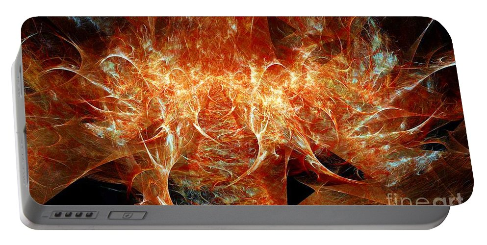 Fractal Portable Battery Charger featuring the digital art Fire Storm by Ron Bissett