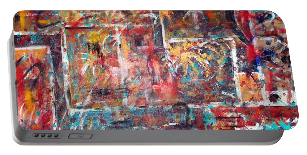 Acrylic Panting Portable Battery Charger featuring the painting Fire Works by Yael VanGruber