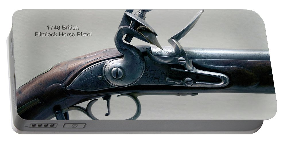 Flint Lock Portable Battery Charger featuring the photograph Firearms 1746 British Flintlock Horse Pistol by Thomas Woolworth