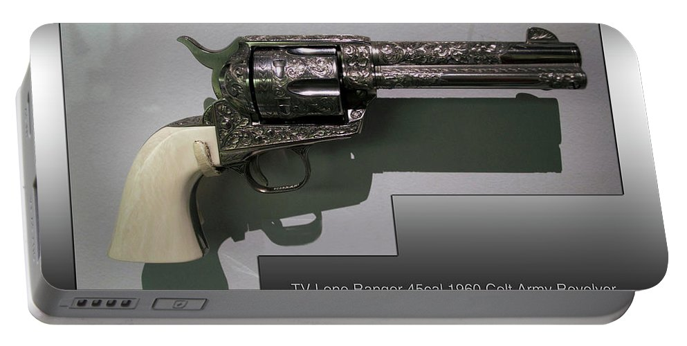 Revolver Portable Battery Charger featuring the photograph Firearms Tv Lone Ranger 45cal 1960 Colt Army Revolver by Thomas Woolworth