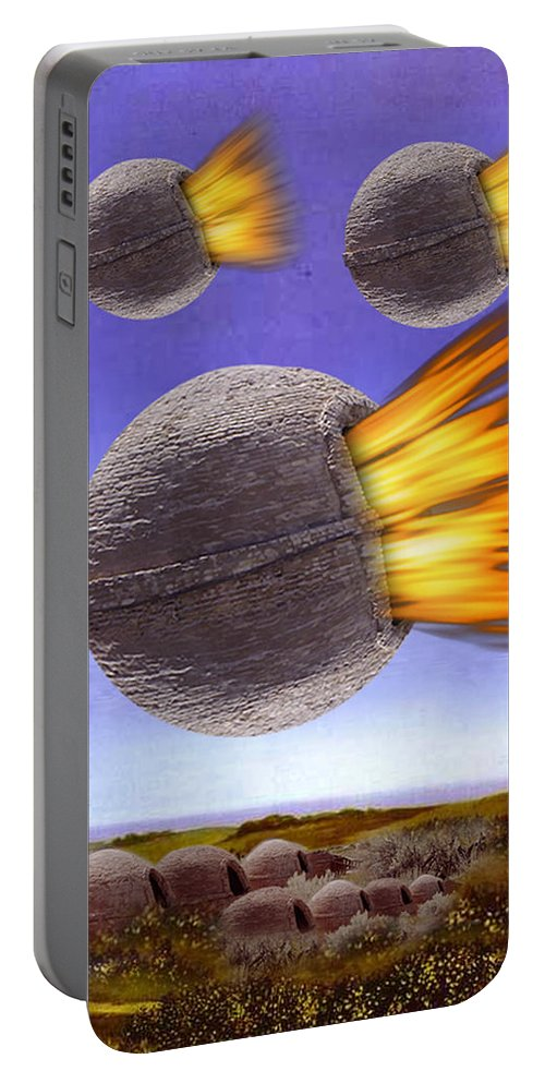 Magritte Portable Battery Charger featuring the painting Fireballs by Gravityx9 Designs