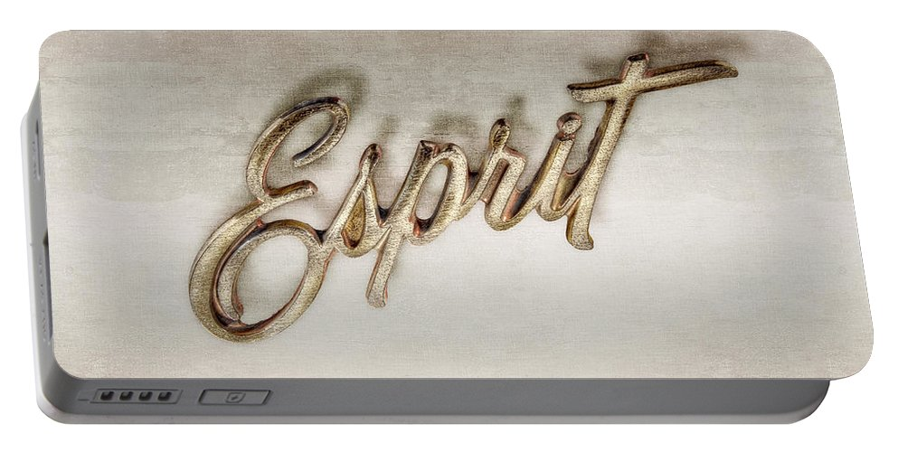 Automotive Portable Battery Charger featuring the photograph Firebird Esprit Chrome Emblem by YoPedro
